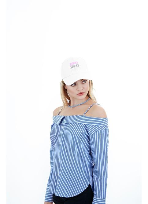 Laslusa Sorry Sorry Sorry Beyzbol Cap Şapka Beyaz